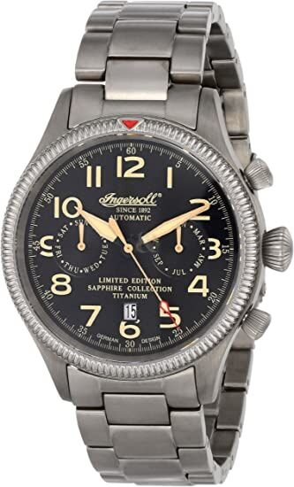 Ingersoll with Black Dial Analogue Display and Grey Titanium Bracelet IN1630TBKM