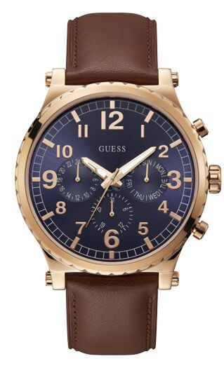 GUESS Multifunction Rose Gold Brown Leather Strap W1215G1