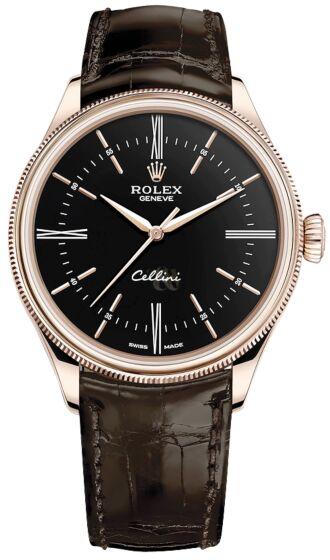 Rolex Cellini 50505, Everose Gold, Black Dial