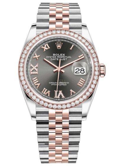 Rolex Datejust 36 Roman Numeral Diamond Women's Watch 126281RBR